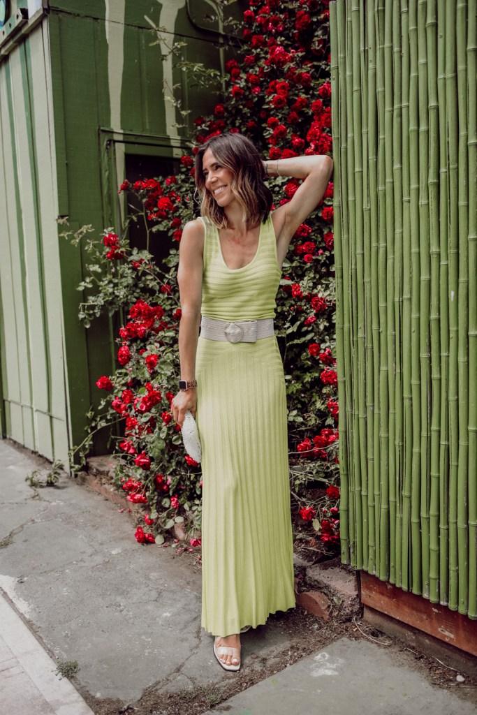 Seattle Fashion Blogger Sportsanista wearing summer knitwear Michaela Dress Mara Hoffman and beige woven belt