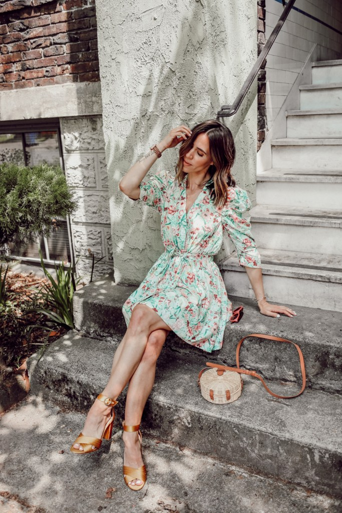 Seattle Fashion Blogger wearing Ronny Kobo Floral Dress and Yellow Satin Sandals