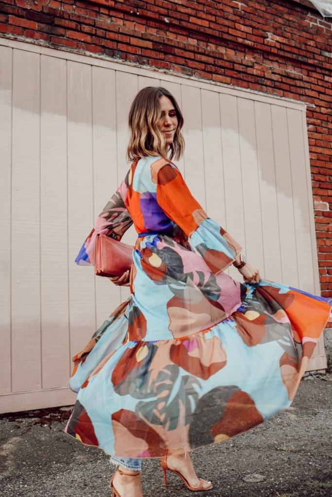 Seattle Fashion Blogger Sportsanista wearing Silk Printed Caftan