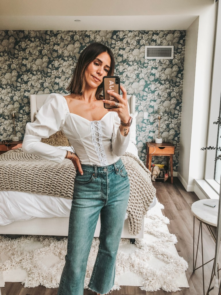 Seattle Fashion Blogger Sportsanista wearing WHITE LACE UP CUP DETAIL PUFF LONG SLEEVE TOP