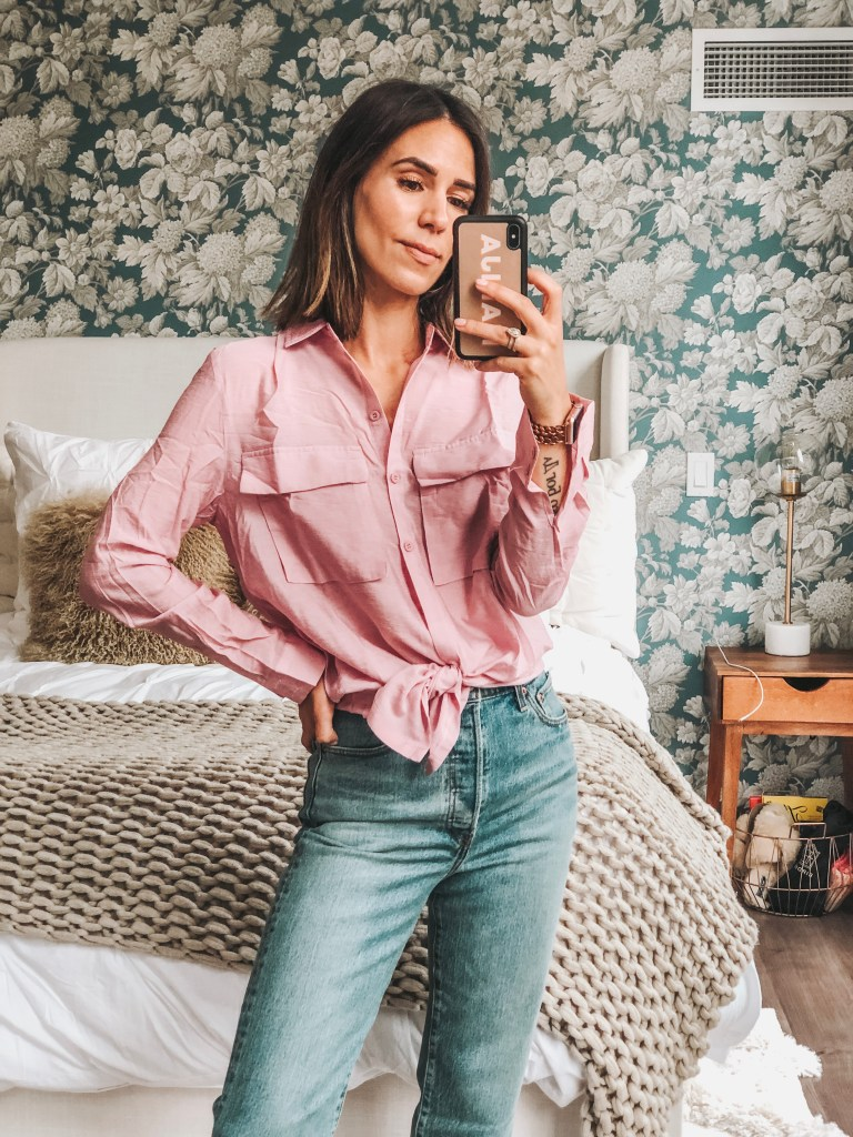 Seattle Fashion Blogger Sportsanista wearing Pink Oversized Shirt from Pretty Little Things