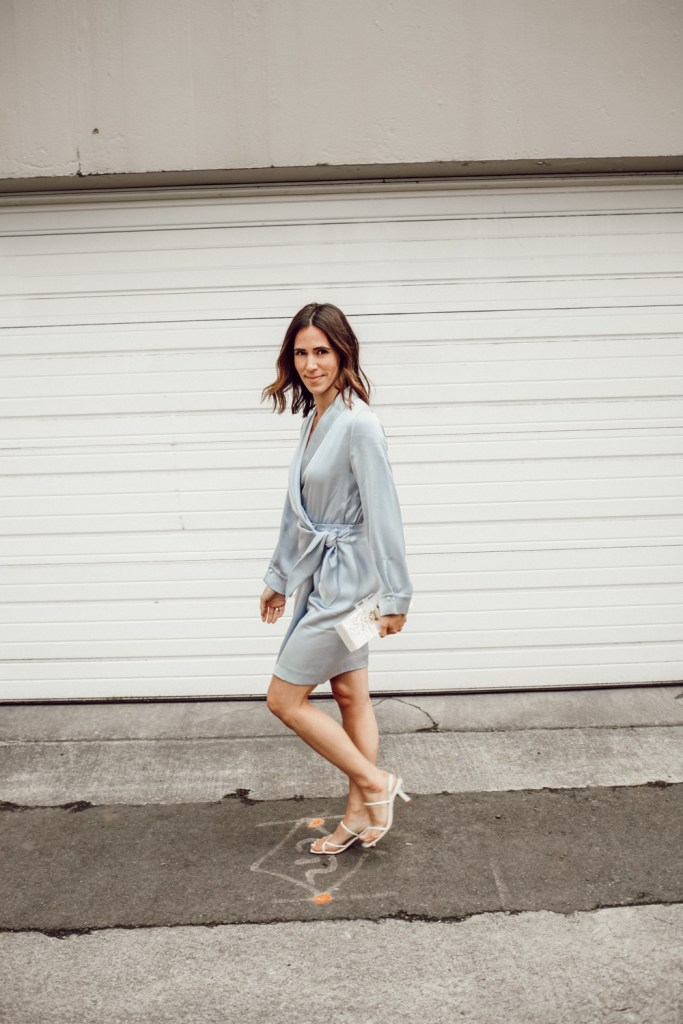 Seattle Fashion Blogger Sportsanista wearing Ice Blue Satin Dress for Date night look