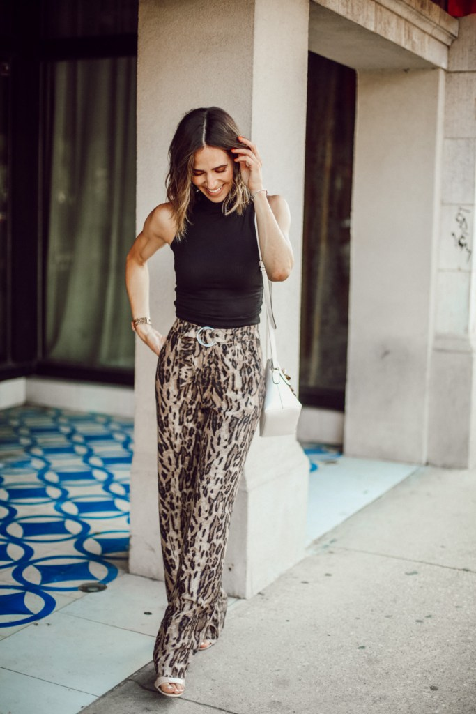 Seattle Fashion Blogger Sportsanista sharing work to happy hour look with leopard pants