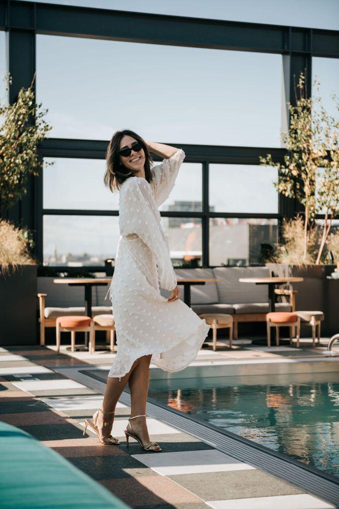 Seattle Fashion Blogger Sportsanista wearing Chicwish Cotton Candy Sheer Maxi Dress in Cream and Sam Edelman Patti Sandal