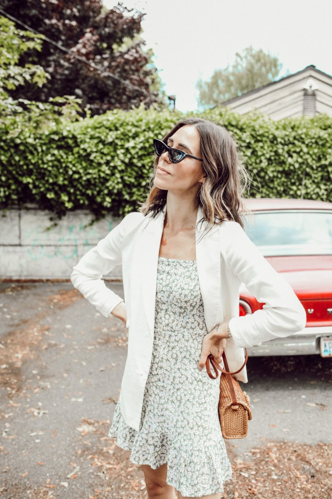 Seattle Fashion Blogger Sportsanista wearing white oversized blazed with floral dress for summer