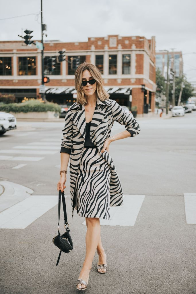 Fashion Blogger Sportsanista wearing Ann Taylor Zebra Print Trench Coat for workwear style inspiration