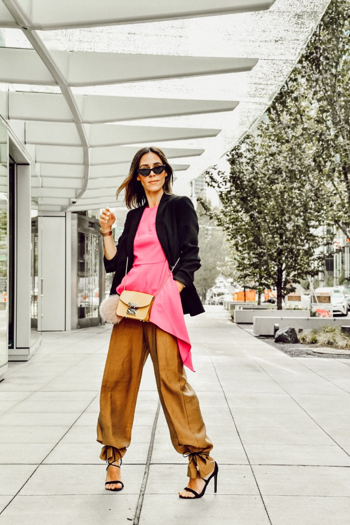 Seattle Blogger Sportsanista wearing Vince Camuto Asymmetric Top and Topshop Wide Leg Trousers