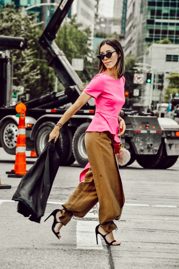 Seattle Blogger Sportsanista wearing Vince Camuto Asymmetrical Top and Topshop Wide Leg Trousers