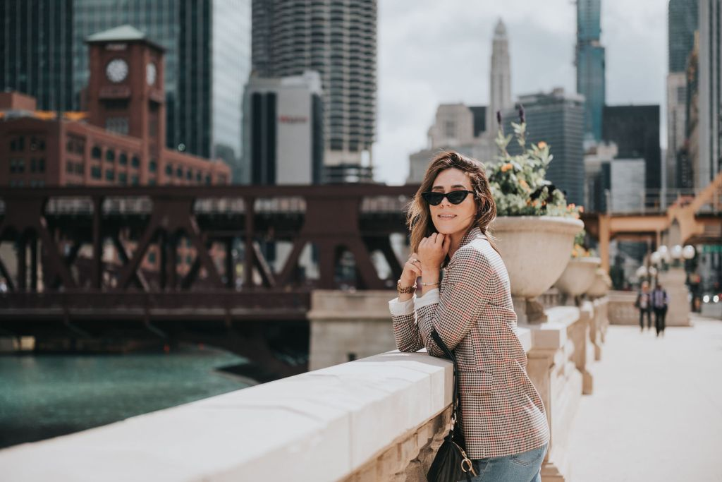Fall Fashion, Fall Plaid Blazer, Cat Eye Sunglasses, Amazon Fashion, Chicago River