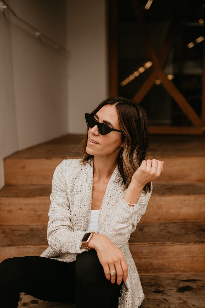 Seattle Fashion Blogger Sportsanista wearing Ann Taylor Tweed Blazer and Ann Taylor THE AUDREY PANT IN BI-STRETCH for workwear look
