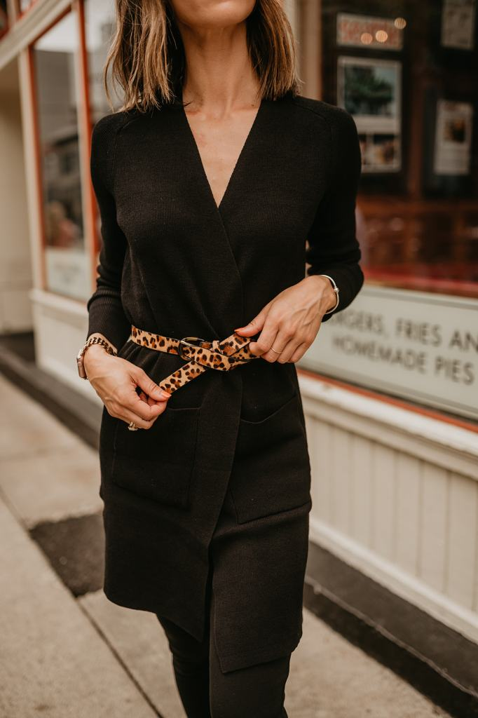 Sportsanista wearing Ann Taylor Seasonless Yarn Ribbed Open Cardigan and Ann Taylor Leopard Belt