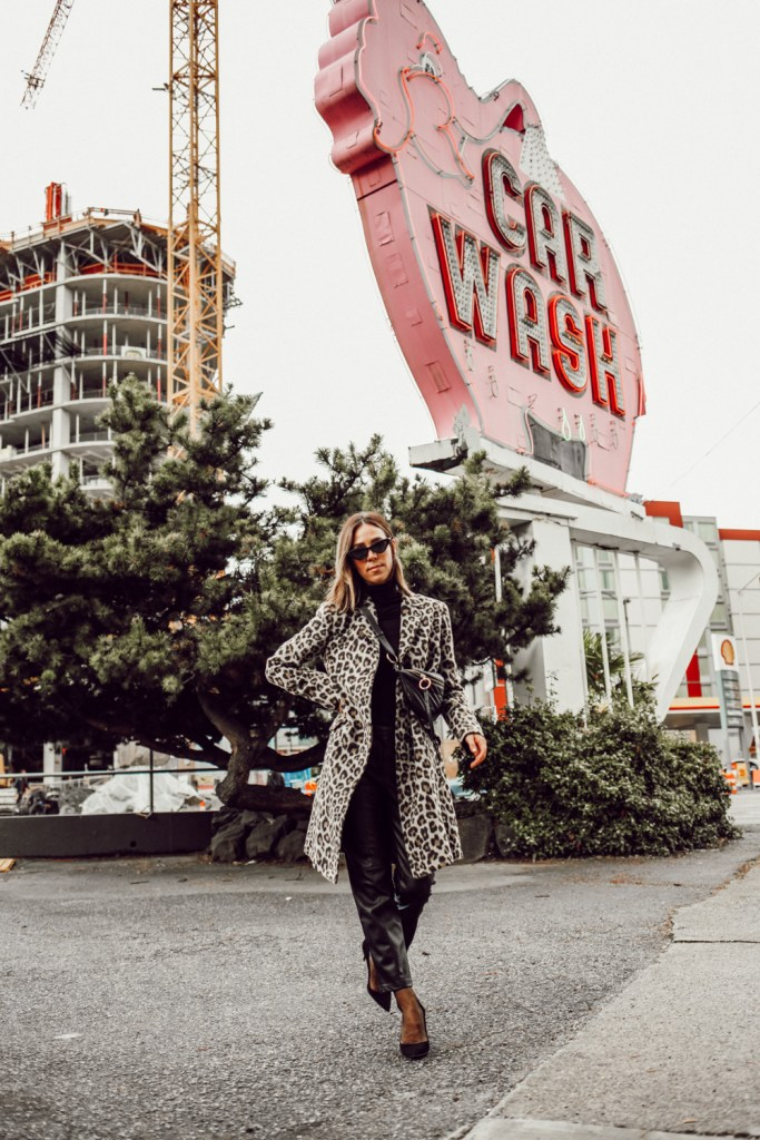 Sportanista wearing Ann Taylor Brush Leopard Coat and H&M Faux leather Pants for Fall