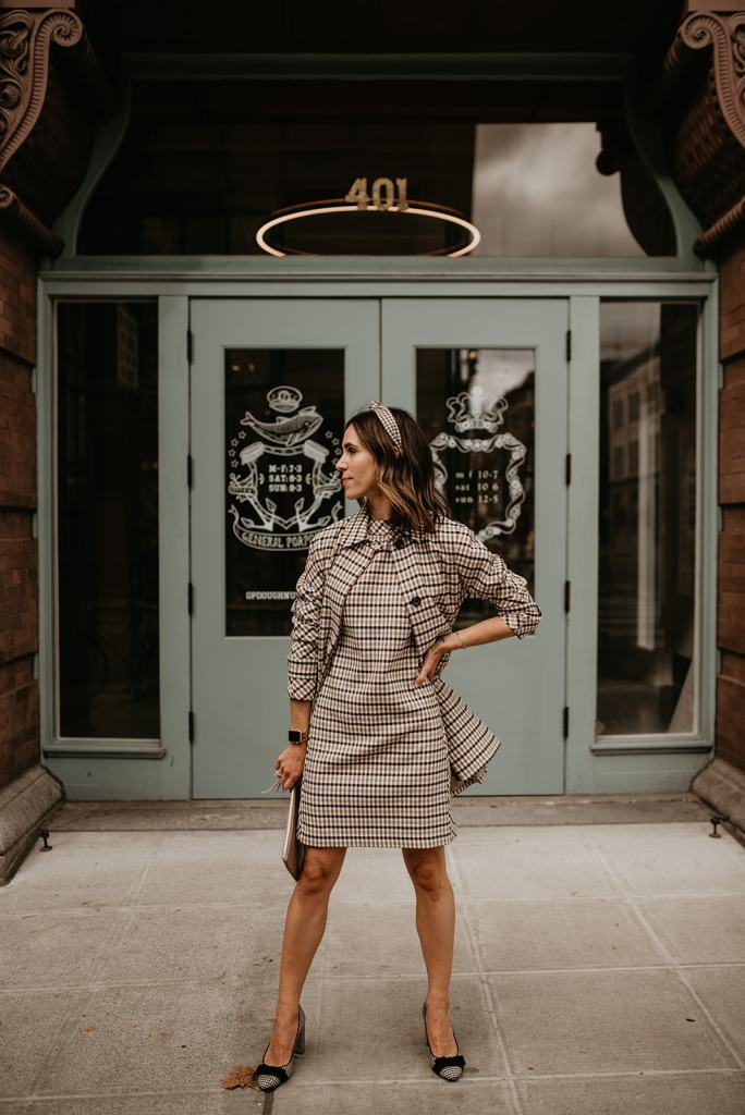 Seattle Blogger Sportsanista wearing Ann Taylor Classic Plaid Mock Neck Dress and Coat