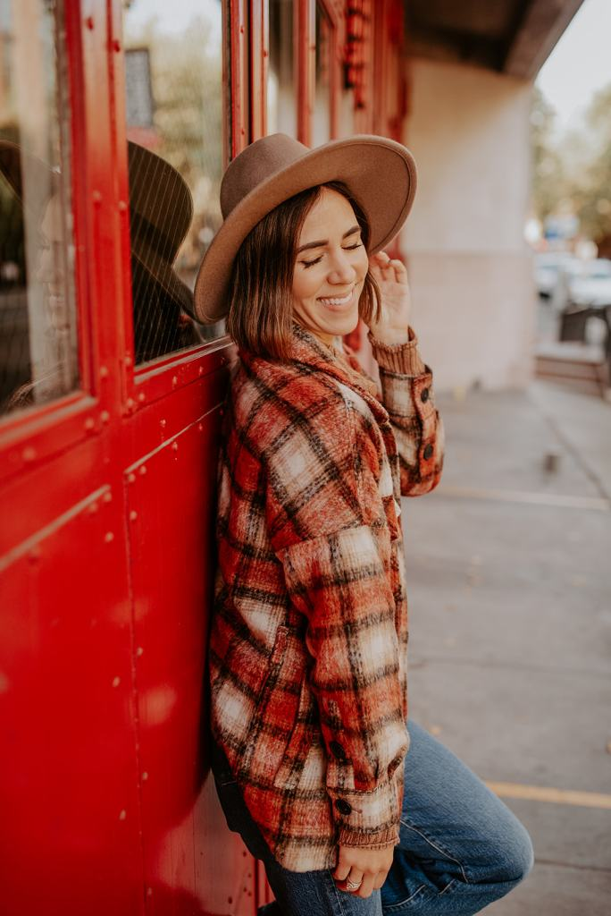 Urban Outfitter Flat Brim Hat and MKT Plaid Oversized Jacket