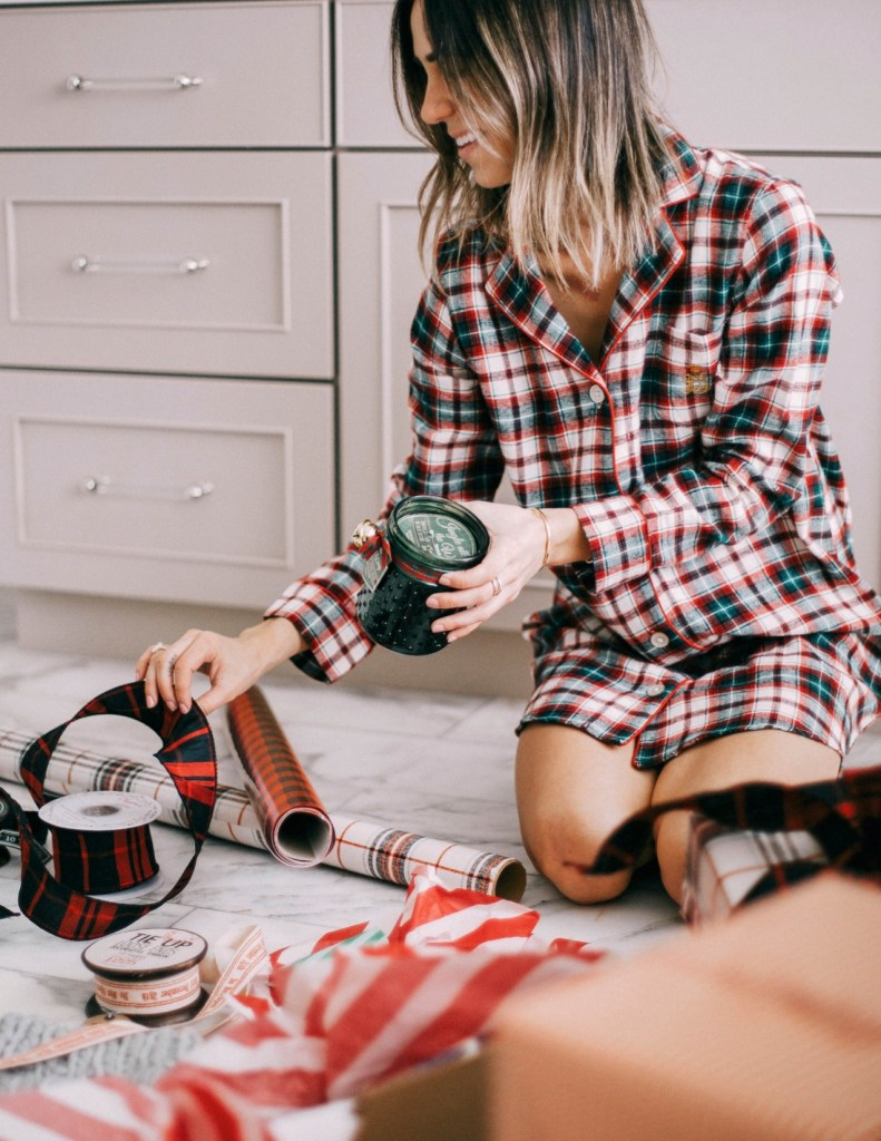 Blogger Mary Krosnjar wearing Ralph Lauren Flannel Pajamas and Wrapping Gifts