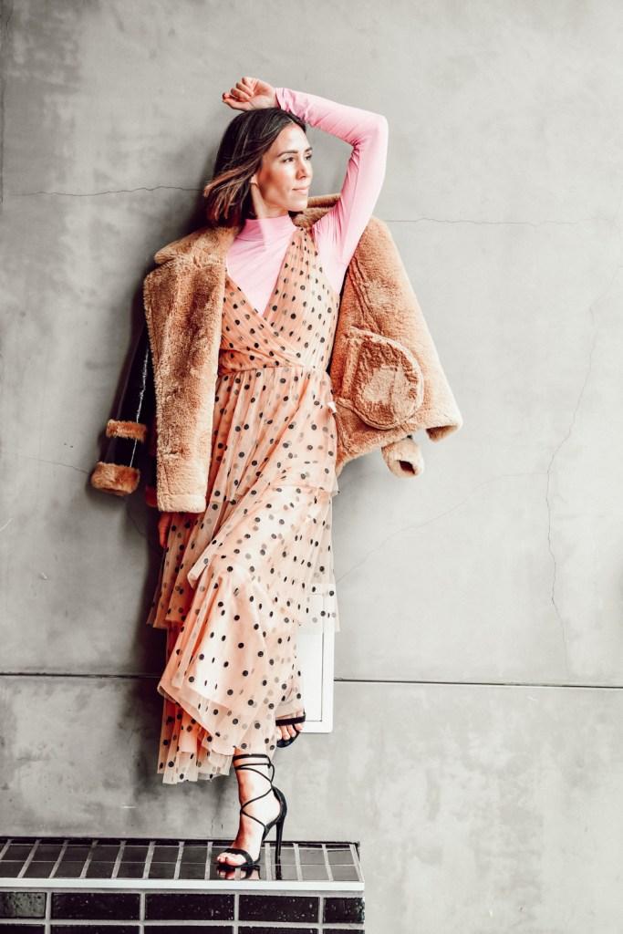 Seattle Blogger wearing tiered halter dress in dot tulle with Everlane mock neck turtleneck