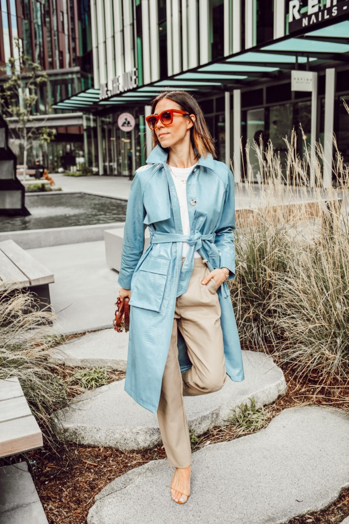 Fashion Blogger Sportsanista wearing Topshop Faux Leather Trench for workwear look