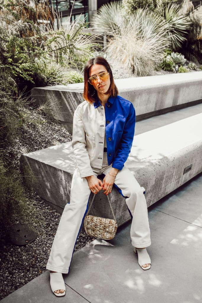 Seattle Blogger Sportsanista wearing Pipe and Row Two Tone Denim Jacket