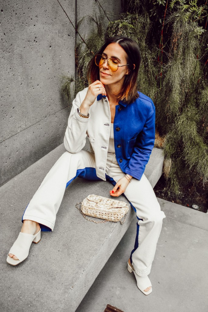 Paloma Wool Two Tone Denim Jacket, Paloma Wool Two Tone Jeans, Knitted Everlane Mules and Yellow Sheer Aviators
