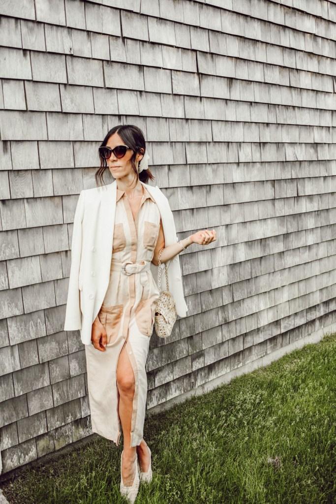 Blogger Mary Krosnjar wearing Midi Utility Dress with Oversized Blazer