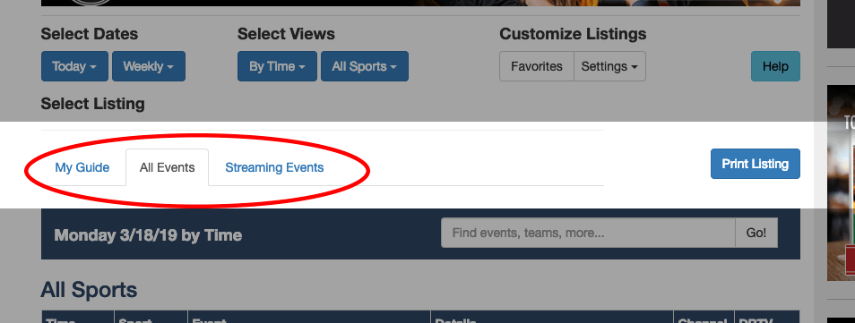 SportsTV Guide viewing tabs