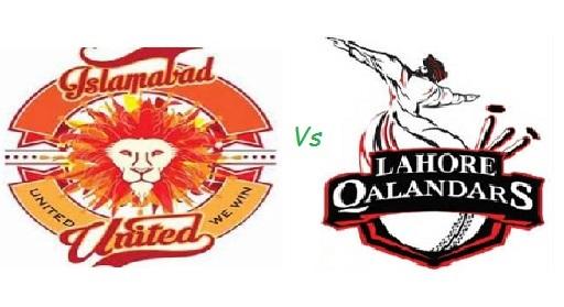 PSL 2016 20th Match, Islamabad United vs Lahore Qalandars
