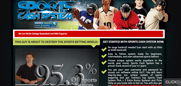 Sports cash system screenshot