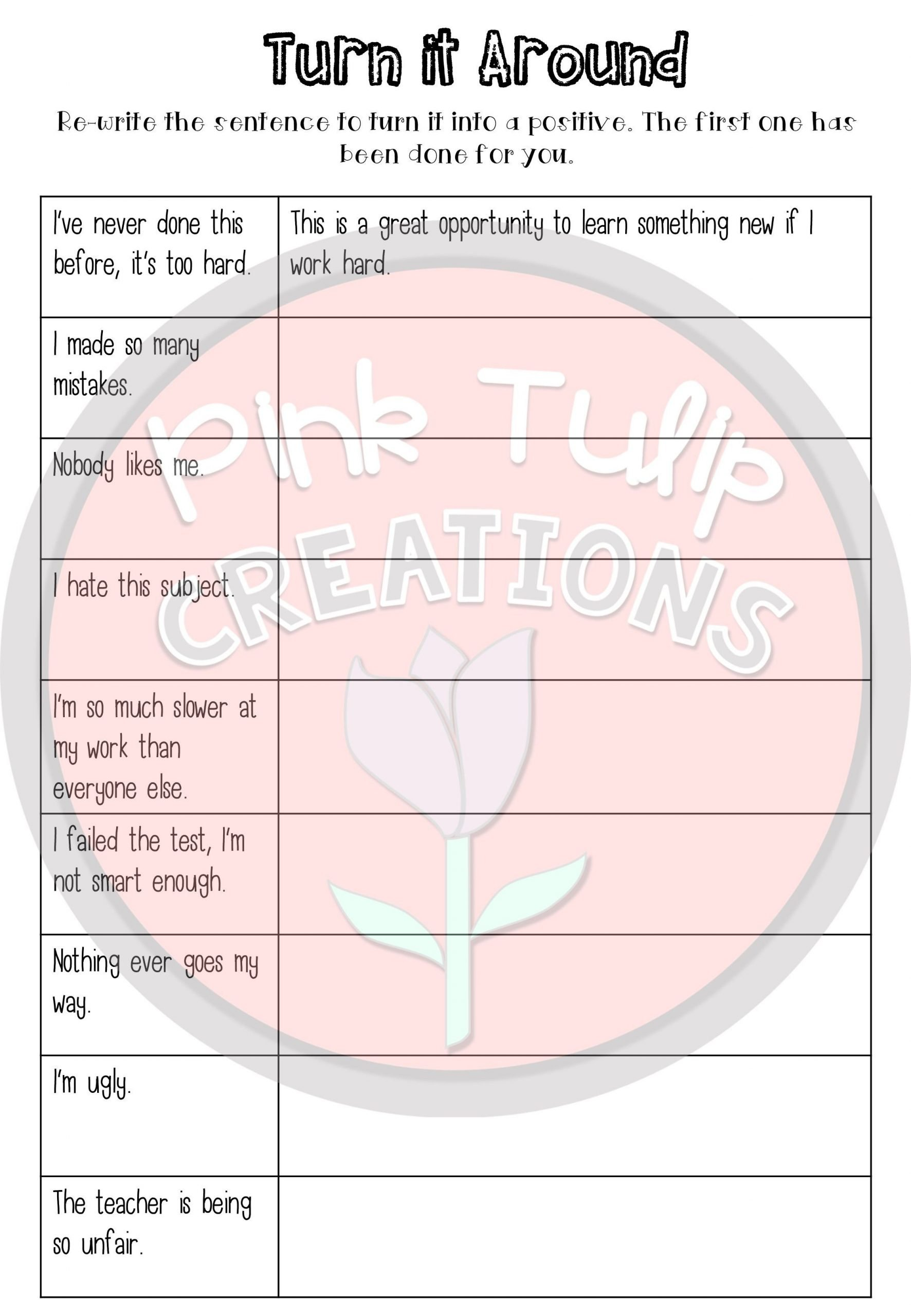 20 Positive Attitude Activities Worksheets