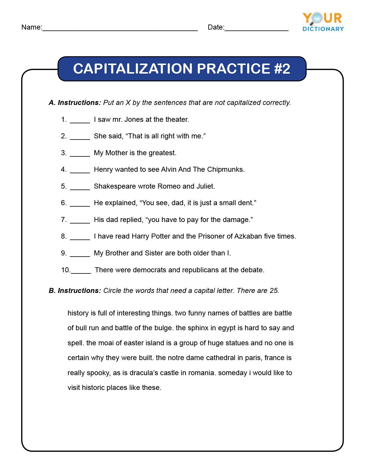 20 Capitalization And Punctuation Worksheets