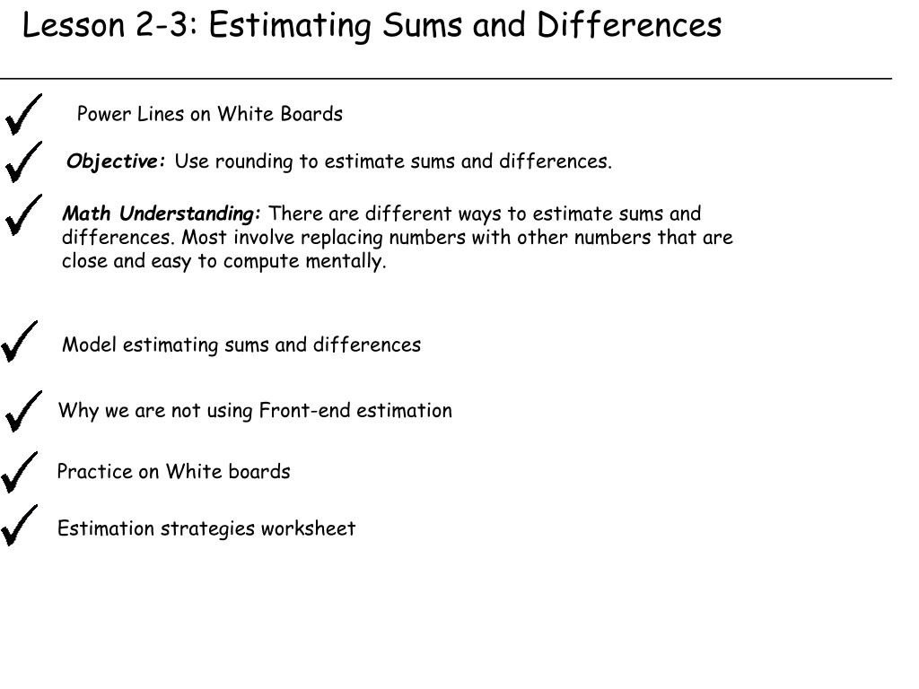 20 Estimate Sums And Differences Worksheets