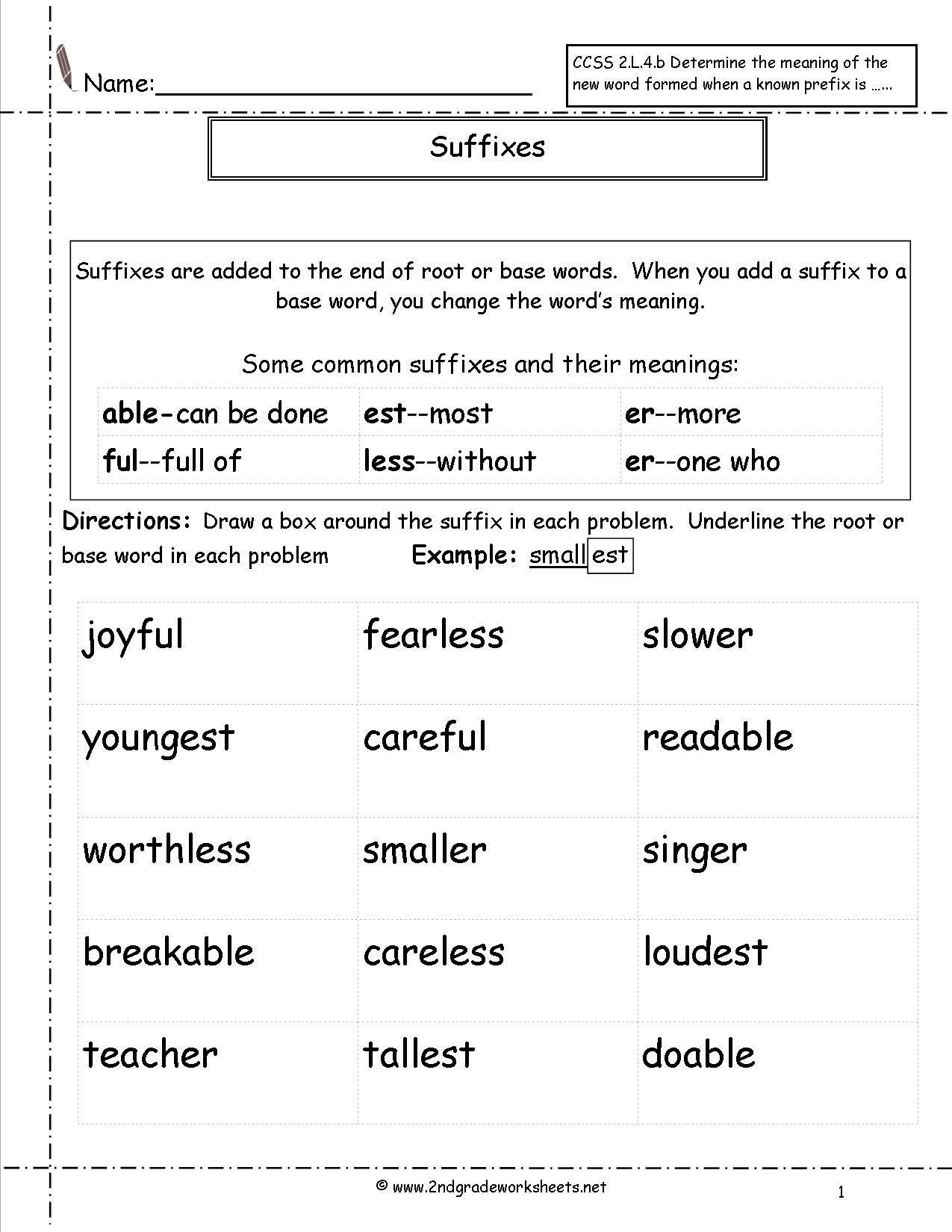 20 Suffixes Worksheets For 2nd Grade
