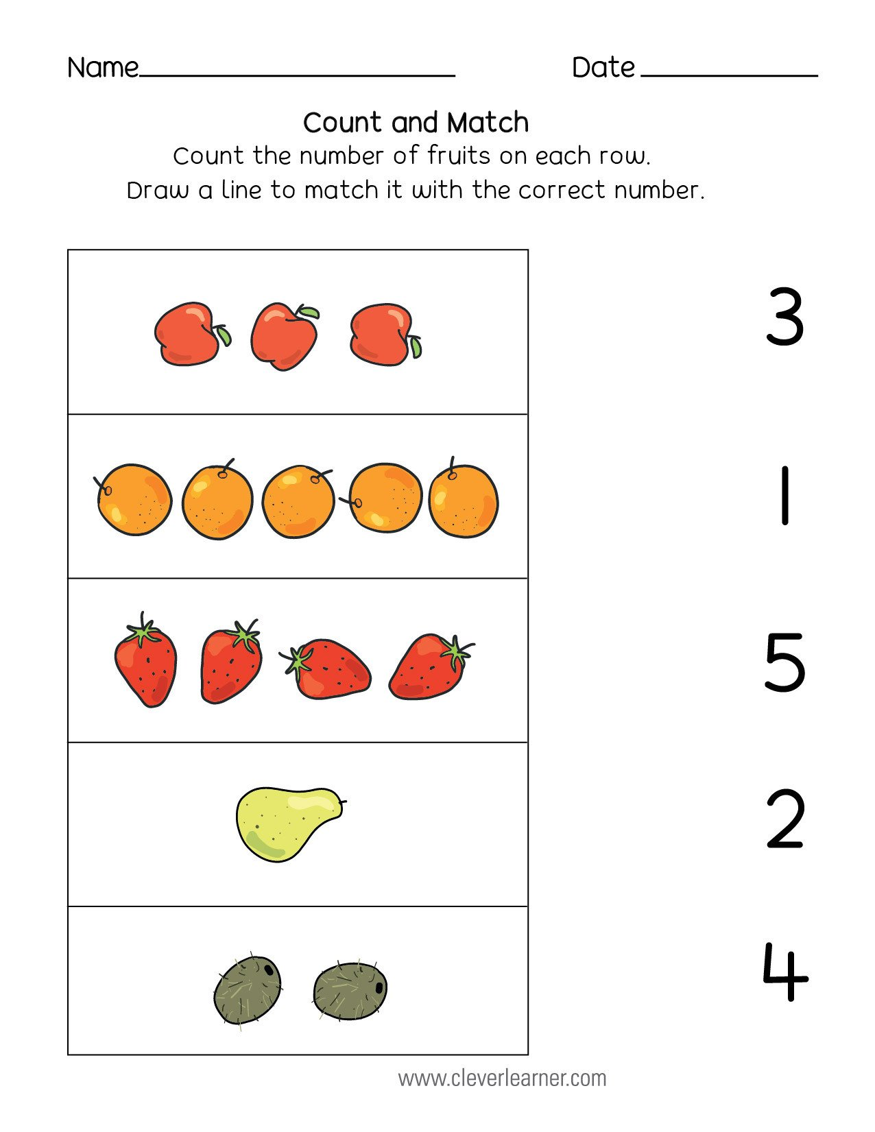 20 Matching Numbers To Quantities Worksheet