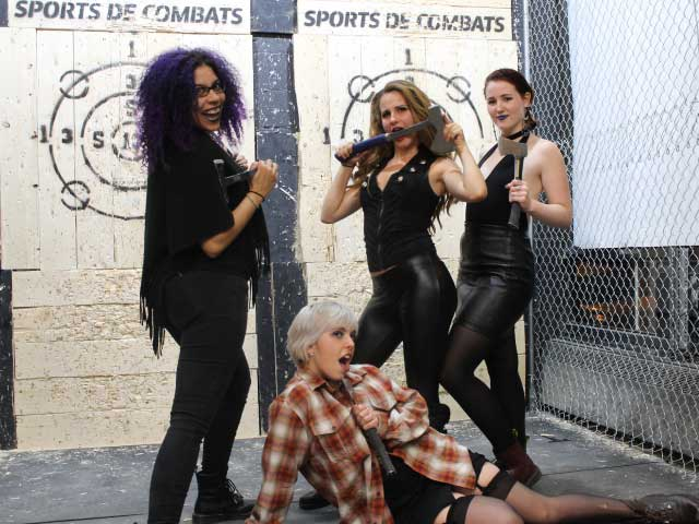 bachelorette party axe knife throwing montreal