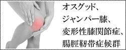 オスグッド、ジャンパー膝、変形性膝関節症、腸脛靭帯症候群