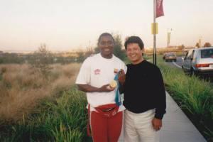 Con Maria Isabel Urrutia, Medallista de oro Olimpico en Sidney 2000. 75kg. Levantamiento de pesas.