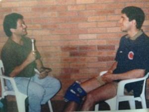 Con juan Pablo Angel, goleador Colombiano.