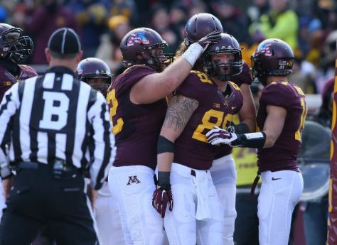 Maxx Williams (#88) celebrates one of his three receiving touchdowns (Photo by Adam Bettcher/Getty Images)