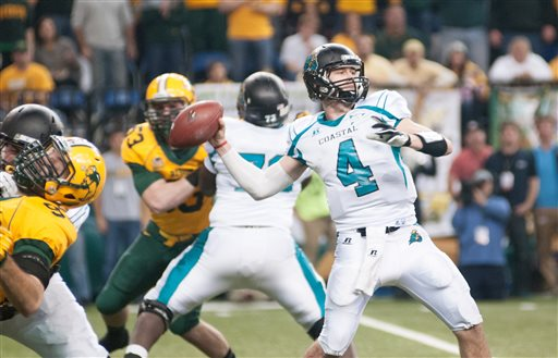 Coastal Carolina and North Dakota State square off in the Quarterfinals for the second consecutive season ((AP Photo/Kevin Cederstrom)