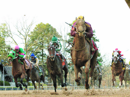 Far Right (maroon silks) won the Smarty Jones Stakes (Coady Photography/Oaklawn Park)
