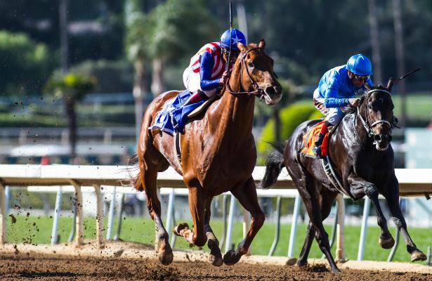 Dortmund (#3, blue saddle towel) wins the San Felipe Stakes (Zoe Metz/Eclipse Sportswire)