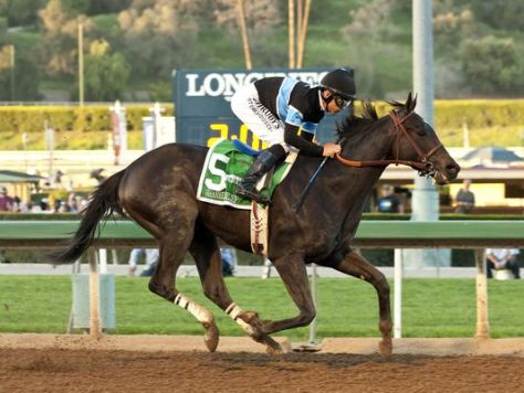 Shared Belief easily beat his 12 foes in the Santa Anita Handicap (The Associated Press)