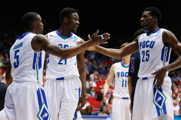 Florida Gulf Coast and Marc Eddy Norelia (#25) had plenty to celebrate on with their dominating win over Fairleigh Dickinson in the 2016 NCAA Tournament's First Four. (Gregory Shamus/Getty Images North America)