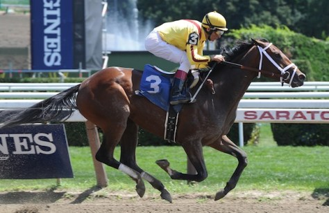 Rachel's Valentina is the morning line favorite for the 2016 Kentucky Oaks (Photo courtesy of NYRA/Susie Rasher)
