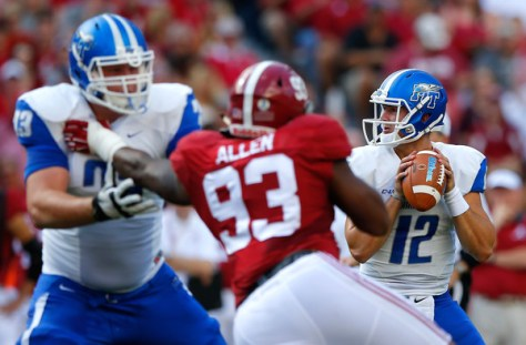 Middle Tennessee QB Brent Stockstill against Alabama in 2015. Stockstill is one of the top passers and is only a sophomore this year. (Kevin C. Cox/Getty Images North America)