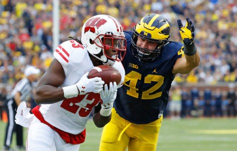 Dare Ogunbowale was the part of the lone touchdown for the Badgers against Michigan. (Leon Halip/Getty Images North America)