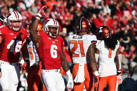 Corey Clement had 123 yards and 3 touchdowns on the ground for Wisconsin in their 48-3 win over Illinois. (Stacy Revere/Getty Images North America)