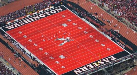 "Do not adjust your screen. We may see Eastern Washington's unique red ""Inferno"" field quite a bit in the 2016 FCS Playoffs. (Photo courtesy of Eastern Washington University Athletics)"