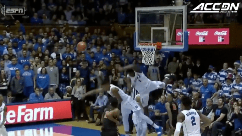 WATCH Dukes Zion Williamson Hits Head On Backboard While
