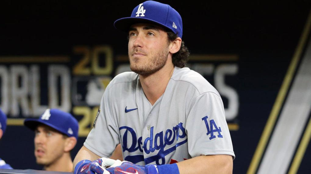 Dodgers' Cody Bellinger watches from the dugout during the 2020 World Series.