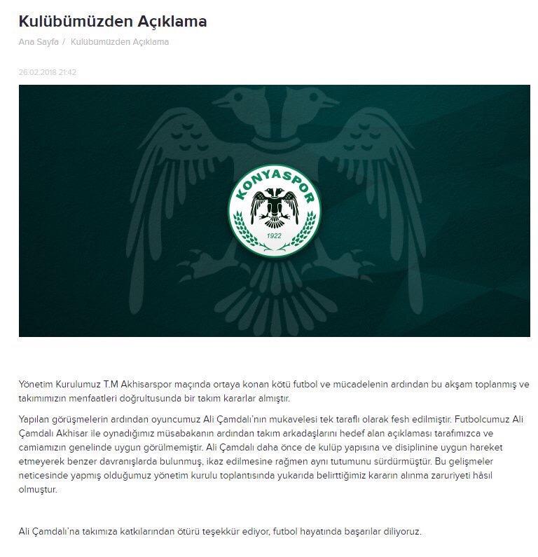 Communiqué officiel du club